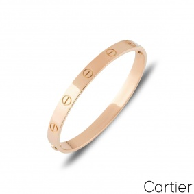 Cartier Rose Gold Plain Love Bracelet Size 17 B6035617